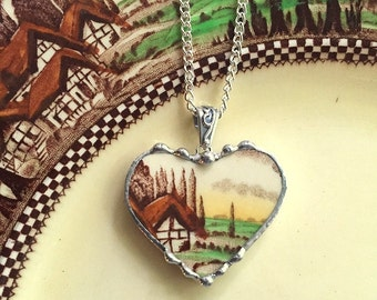 Broken china jewelry heart pendant necklace antique English countryside cottage, recycled china