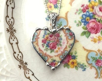 Broken china jewelry heart pendant necklace antique Parisian rose floral china