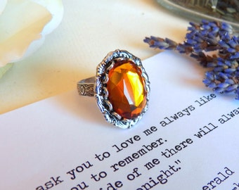 Honey Bee Ring, Vintage Amber Glass Silver Ring, Silver Jewelry, Antiqued Silver Plated Adjustable Ring, Handmade Jewelry Gifts by HoneyNest