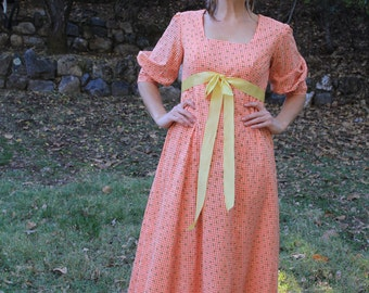 POPPY FIELD - 1970s Vintage Maxi Dress Gown Party Frock Marigold Orange Tangerine Gingham Country Prairie Bohemian Boho Glam Flocked Med L