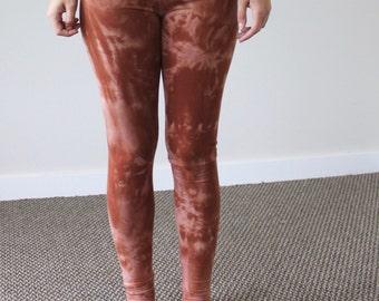 Organic XS Small Rust Orange Tie Dye Leggings