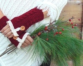 Fingerless Gloves Lace Gloves with Buttons, Garnet Red Gloves, Mittens, Arm Warmers, Knit Gloves, Winter Gloves, Half Finger Gloves