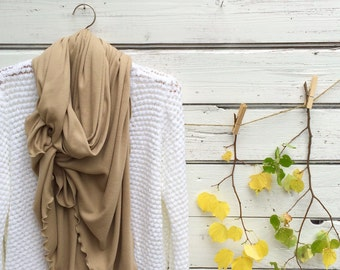 Long Scarf, Khaki Scarf, Beige Scarf, Tan Scarf, Oversized Scarf, Winter Scarf, Wrap, Shawl, Chunky Scarf, Jersey Scarf, Gift Idea for Her