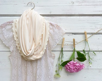 Ivory Infinity Scarf, Cream Scarf, Spring Accessories, Gift Idea for Easter, Gift for Mom, Mothers Day Gift