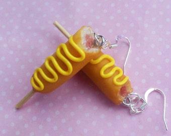 Corn Dog Earrings, Polymer clay, Miniature Food, Food Jewelry, mustard or ketchup