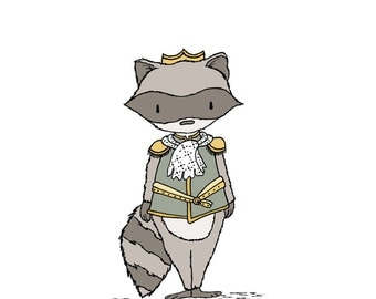 Woodland Nursery Art -- Raccoon Prince