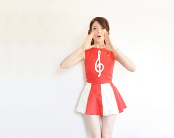 song bird 1960 cheerleader uniform . mod red white majorette mini dress .extra small.xs .sale