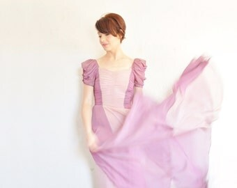 1930 two tone violet crepe gown . gathered bodice . fairy wedding dress .extra small.xs .sale