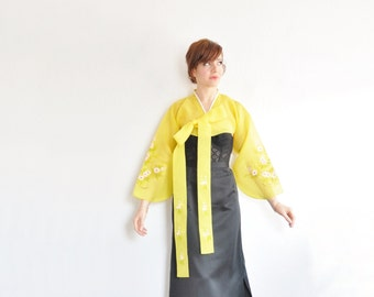 bright sheer yellow kimono top . traditional japanese jacket . geisha bolero .small.medium