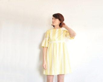 mod yellow gingham dress . folk sleeves . mini skirt .medium .sale