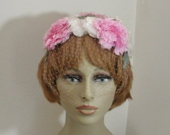 Vintage Pink & White Flowered Open Crown Hat with Veil