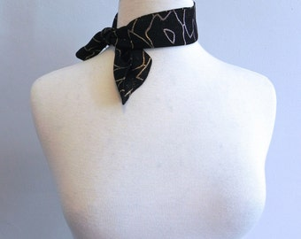 Vintage 50s Neck or Ponytail Scarf - 1950s Black and Gold Lurex Amoeba Print Scarf Collar
