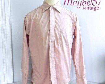 Vintage Men's 40s Shirt , Pink Airman Shirt , Zip Front
