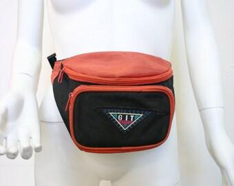 Vintage 1990s GIT Sport Orange and Black Nylon Fanny Pack