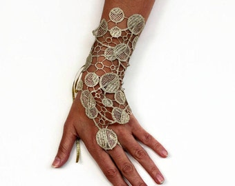 Gold Lace Wrist Cuff Charm, Bridal Fingerless Glove Gold Guipure Lace, Modern Wedding Handlet, Limited