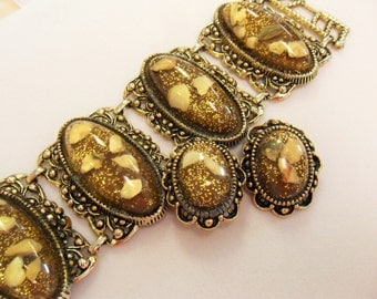 Large Chunky Vintage Confetti Bracelet and Clip Earrings Ivory/Gold