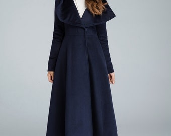 navy coat, swing coat, long coat, warm jacket, womens outfits, hooded coat, casual winter coat, long trench coat, big collar, gift idea 1639