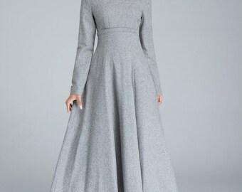 light grey dress, pleated dress, high waisted dress, elegant dress, long dress, prom dress, wool dress, fall dress, gift for girlfriend 1613
