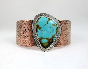 Turquoise Mixed Metal Sterling and Copper Cuff bracelet
