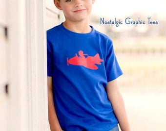 Jet Set Short Sleeved Crew by Nostalgic Graphic Tees in Royal with Red