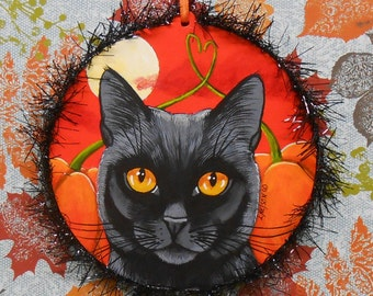 Happy Halloween Original Black Cat Pumpkin Patch Large Ornament