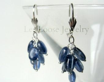 Kyanite sterling earrings, genuine blue gemstones, cluster dangle cascade style, leverbacks, Let Loose Jewelry, under 75, handmade, for her