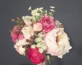 Custom artificial bridal bouquet with peonies, berries, queen anne's lace and ranunculus for Heather