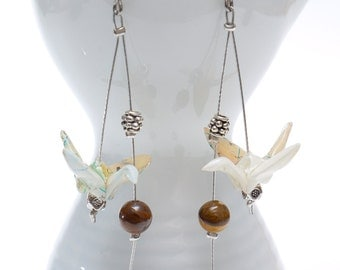 Origami earrings in recycled atlas paper with tiger eye beads -Made to order