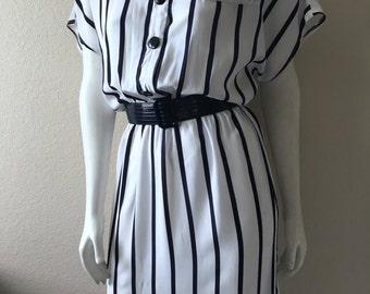 Vintage Women's 80's Striped Dress, White, Navy Blue, Striped, Knee Length (M/L)