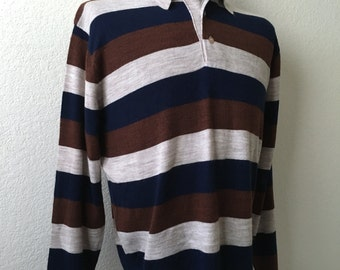 Vintage Men's 70's Striped Sweater, Tan, Navy, Copper, Acrylic by Mister Man (XL)