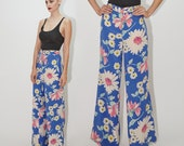 CHLOÉ, 70's High Waisted Blue Silk Wide Leg Floral Pants, RARE Colorful Printed Trousers with Pockets, Designer Vintage Chloe, sz XS / Small