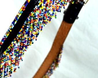 Vintage Leather Seed Bead Fun Rainbow Party Southwest Belt