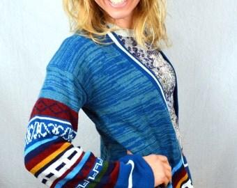 Vintage 1970s 70s Cardigan Acrylic Geometric Knit Sweater - By Heidi