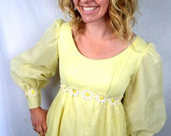 Vintage LOVELY Daisy Yellow Empire Waist 1960s Emma Domb Maxi Dress - Raised Polka Dot