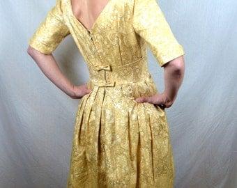 Vintage 1950s 50s Bombshell Brocade Formal Dress - Lorrie Deb