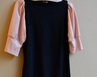 Sale, Medium, Jersey Top Black and pale pink puff sleeves, modern chic- ready to ship