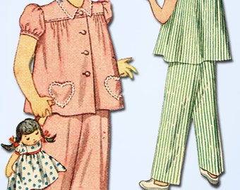 1940s Vintage Simplicity Sewing Pattern 2054 Easy Toddler Girls Pajamas Size 2