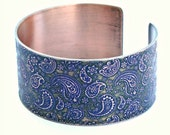 Etched Paisley Cuff with Blue Green Patina, Solid 18 Gauge Copper, Handcrafted, Gently Adjustable, One of a Kind, Swirl Designs