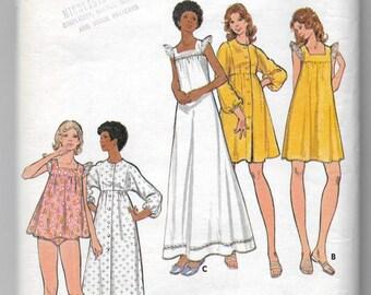 Uncut, Misses Size 12, Vintage 1970s Sewing Pattern, Butterick 3160, Nightgown, Bikini Briefs, Panties, Lingerie, Top, Robe, Ruffles, Lace