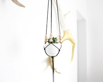 POLA | Miniature Hanging Planter with Cup | Modern Macrame