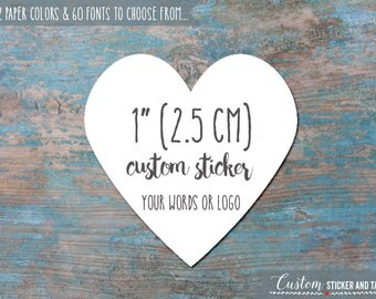 """63 custom words or logo heart stickers 1"""", choose paper color and font, envelope seals, favor stickers, custom stickers, logo sticker (S-14)"""
