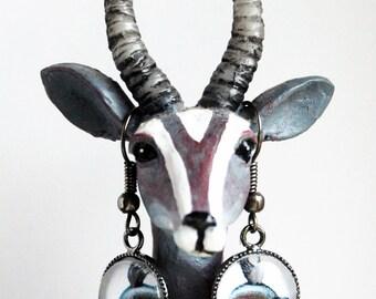 Gunmetal Pigasus Earring Pair, Flying Pig Earrings, When PIgs Fly Earrings, Pigs with Wings Dangle Earrings