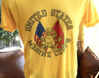 USMC Marines 1980s vintage t-shirt - soft and thin yellow tee size large