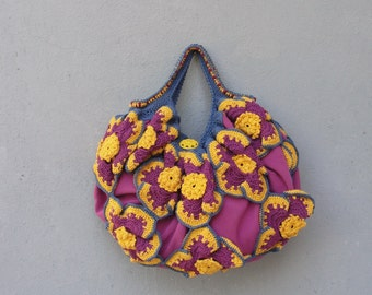 Flower Power Bag, Hand Crocheted Boho Bag Happy Sunny Handbag