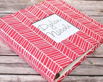 Baby Book, Baby Gift, Baby Album, Baby Memory Book, Baby Keepsake, Modern Baby Book, Pink Herringbone