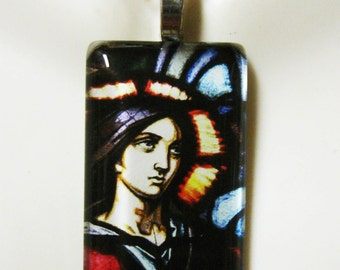 Saint Joan of Arc stained glass window pendant with chain - GP01 - 167