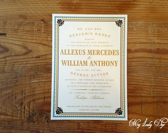 100 Vintage Wedding Invitations - Ornate Border and Typography - By My Lady Dye