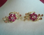 Signed Coro Pink  Rhinestone Flower Clip Earrings Gold Tone