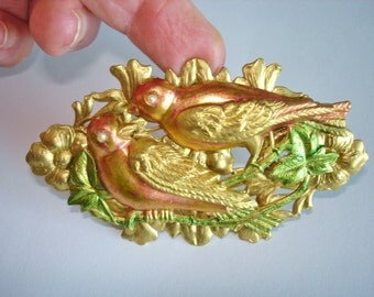 Love Birds Flower  Brooch Bird Vintage Jewelry