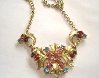 Rose  Blue  Rhinestone Pendant  Necklace Gold Tone